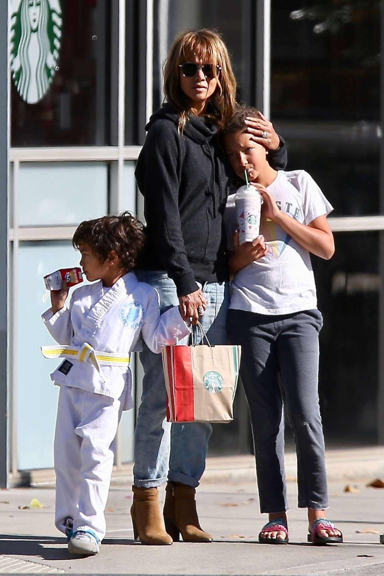 Halle Berry Takes Her Kids Nahla And Maceo To Karate Class